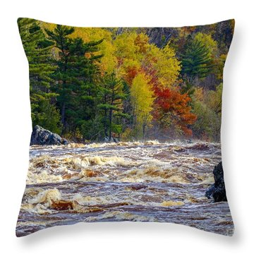 Autumn Colors And Rushing Rapids   Throw Pillow