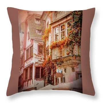Autumn Colors In Strasbourg France Throw Pillow