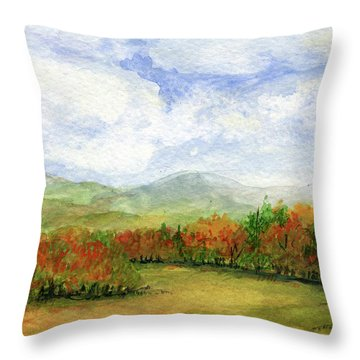 Autumn Day Watercolor Vermont Landscape Throw Pillow
