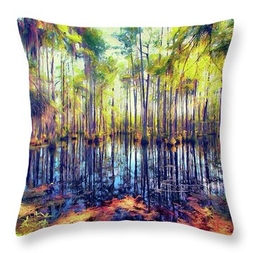 Autumn Fall Colors In The Cypress Swamp Ap Throw Pillow