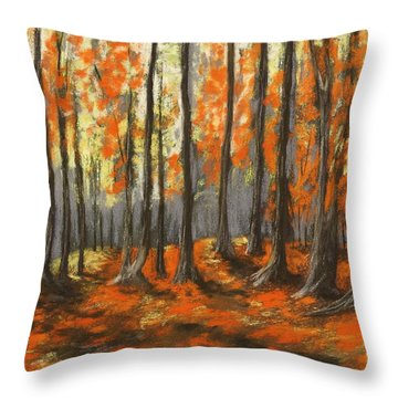 Throw Pillow featuring the painting Autumn Forest by Anastasiya Malakhova