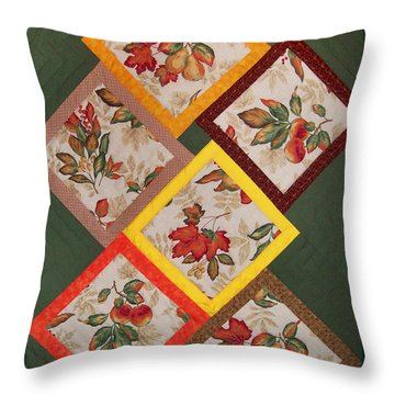Autumn Fruit And Leaves Throw Pillow