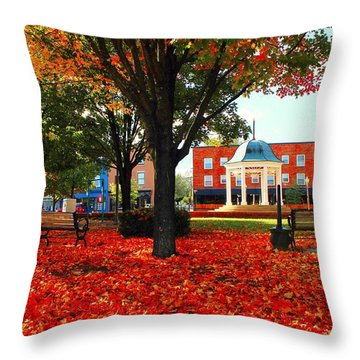 Throw Pillow featuring the photograph Autumn Main Street by Candice Trimble