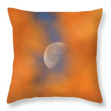 Throw Pillow featuring the photograph Autumn Moon by Dan Sproul