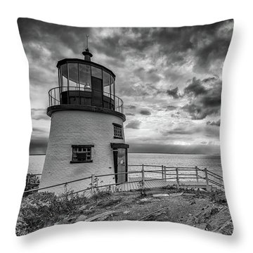 Throw Pillow featuring the photograph Autumn Morning At Owls Head Black And White by Rick Berk