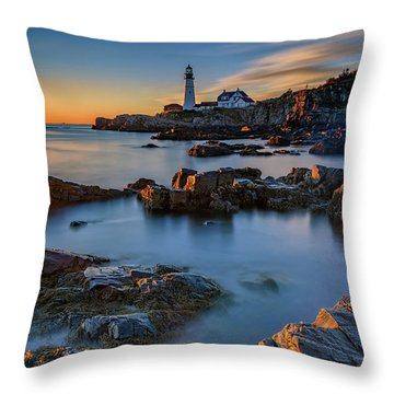 Throw Pillow featuring the photograph Autumn Morning At Portland Head Lighthouse  by Rick Berk