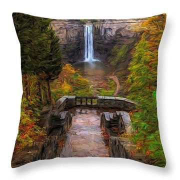 Throw Pillow featuring the painting Autumn Morning At Taughannock Falls by Dan Sproul