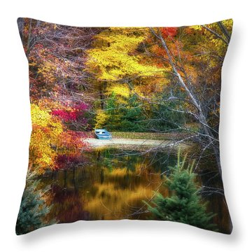 Autumn Pond With Rowboat Throw Pillow