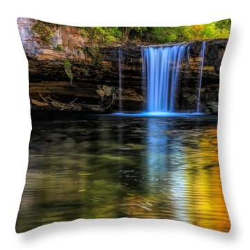 Throw Pillow featuring the photograph Autumn Reflections At Ludlow Falls by Dan Sproul