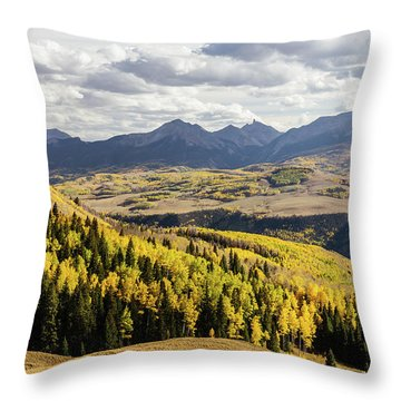 Throw Pillow featuring the photograph Autumn Season View Of Sneffles Ten Peak by James BO Insogna
