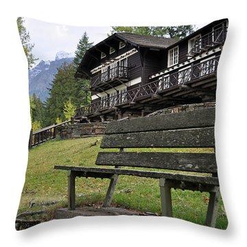 Autumn Silence At Lake Mcdonald Lodge In Glacier National Park Throw Pillow