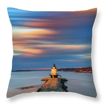 Throw Pillow featuring the photograph Autumn Skies At Spring Point Ledge Lighthouse by Rick Berk