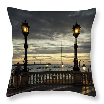 Throw Pillow featuring the photograph Autumn Sky La Caleta Cadiz Spain by Pablo Avanzini
