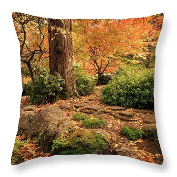 Autumn Stream In Lithia Park Throw Pillow