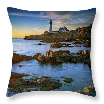 Throw Pillow featuring the photograph Autumn Tranquility At Portland Head by Rick Berk