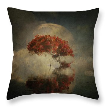 Throw Pillow featuring the digital art Autumn Tree In The Mist by Jan Keteleer