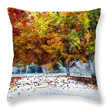 Throw Pillow featuring the digital art Autumn Trees by Pennie McCracken