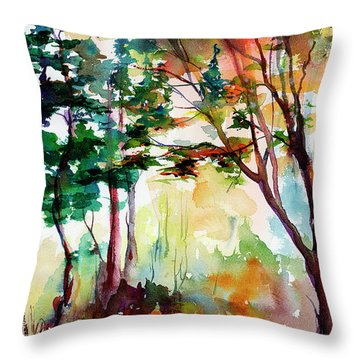 Autumn Trees Watercolors Throw Pillow