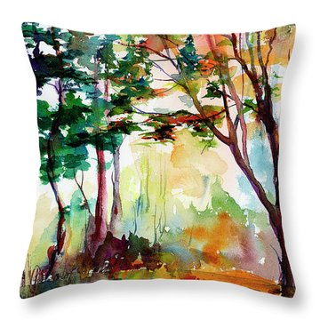Autumn Trees Watercolors Throw Pillow
