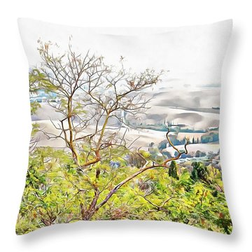 Throw Pillow featuring the photograph Autumn View Pienza by Dorothy Berry-Lound