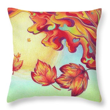 Autumn Wind And Leaves Throw Pillow