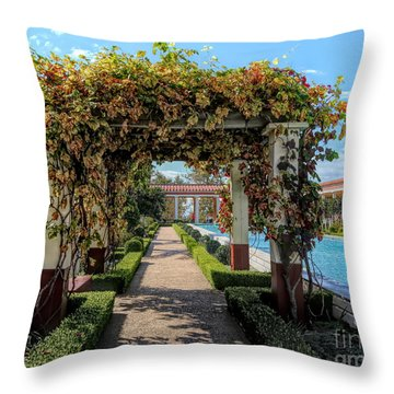 Awesome Getty Villa Landscape Walkway Pool California  Throw Pillow