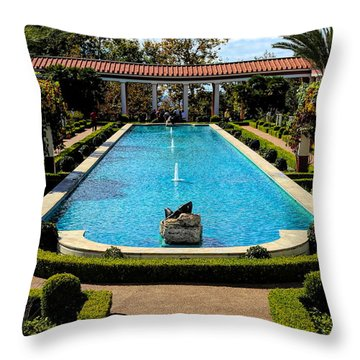 Awesome View Getty Villa Pool  Throw Pillow