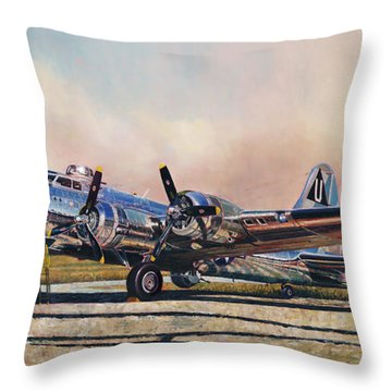 B-17g Sentimental Journey Throw Pillow