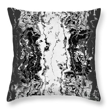 Throw Pillow featuring the drawing B W Iner by A zakaria Mami