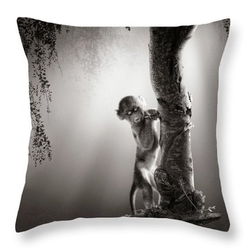 Baby Baboon Throw Pillow
