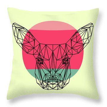 Baby Deer And Sunset Throw Pillow