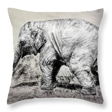 Baby Elephant Walk Throw Pillow