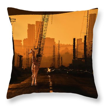Throw Pillow featuring the photograph Baby Giraffe In The Urban Jungle. by Rob D Imagery