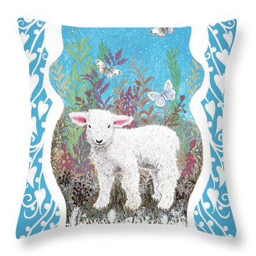 Baby Lamb With White Butterflies Throw Pillow