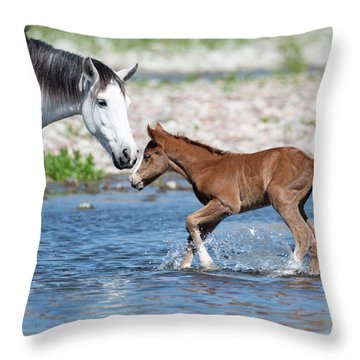 Baby's First River Trip Throw Pillow