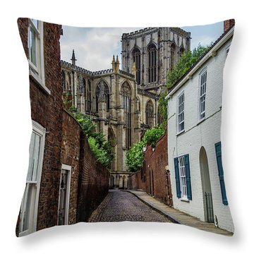 Back Alley To York Minster Throw Pillow