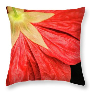 Back Of Red Flower Throw Pillow