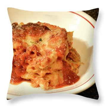 Throw Pillow featuring the photograph Baked Ziti Serving 3 by Angie Tirado