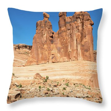 Balanced Rocks In Arches Throw Pillow