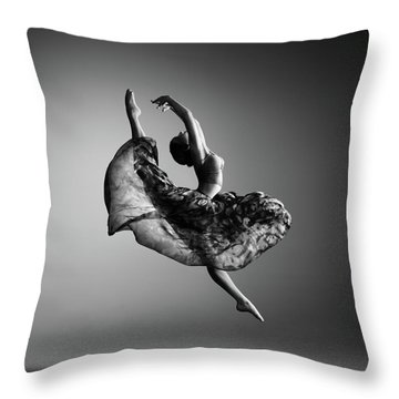 Ballerina Jumping Throw Pillow