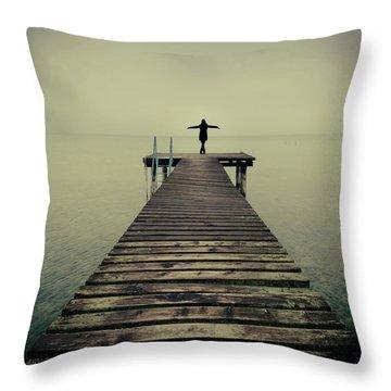Ballerina Pose At Idyllic Lake At Winter Throw Pillow