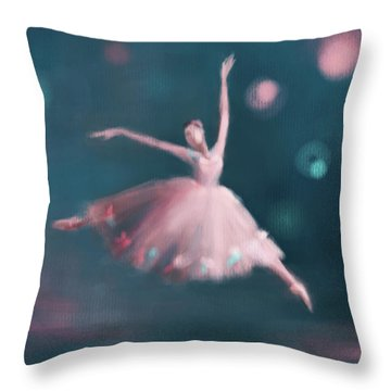 Ballet Dancer Pink And Peacock Blue Throw Pillow