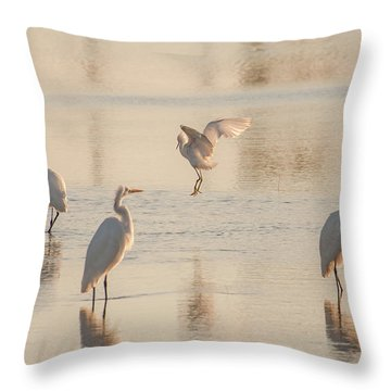 Ballet Of The Egrets Throw Pillow