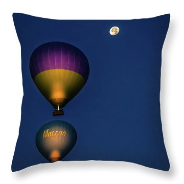 Throw Pillow featuring the photograph Balloons And The Moon by Francisco Gomez