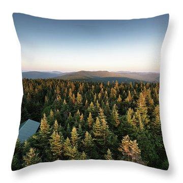 Balsam Lake Mountain Sunset Moon Throw Pillow
