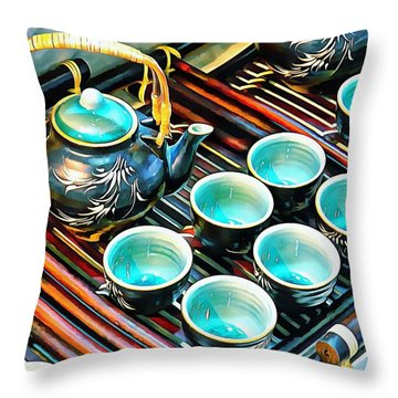 Throw Pillow featuring the photograph Bamboo Handle Teapot And Cups by Dorothy Berry-Lound