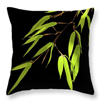 Bamboo Leaves 0580a Throw Pillow