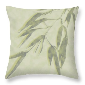 Throw Pillow featuring the photograph Bamboo Leaves 0580c by Mark Shoolery