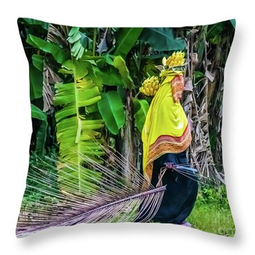 Banana Harvest, Zanzibar, Tanzania Throw Pillow