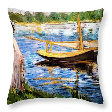 Banks Of The Seine At Argenteuil Throw Pillow